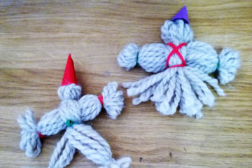 Small woollen elfs to put in Christmas Tree.