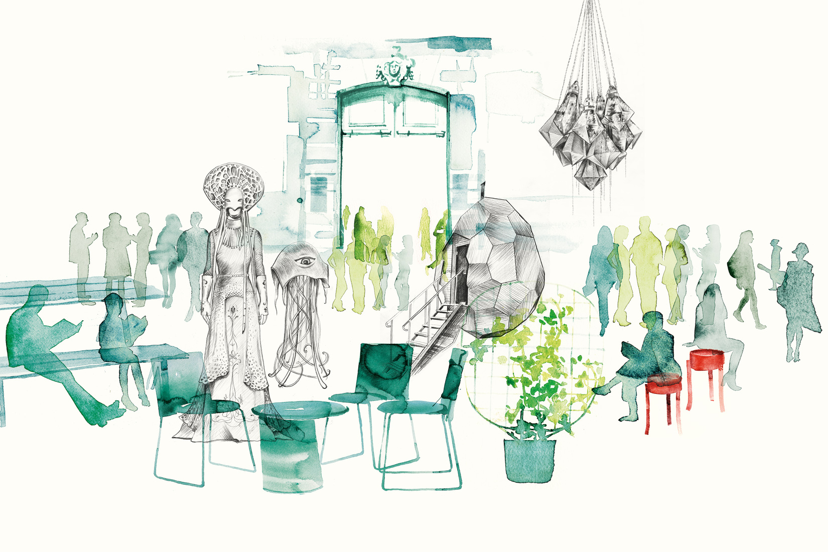 Illustration of Hôtel de Marle with design objetcs and objets from the cultural actitivies of this autumn.