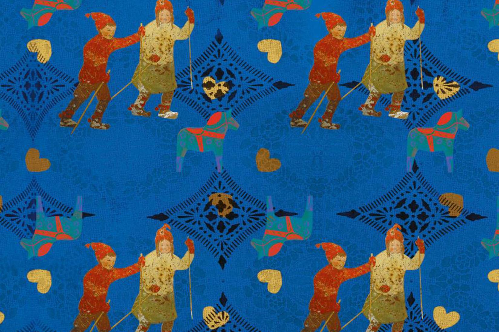 motifs de la couverture du livre, fond bleue t motifs traditionnels suédois : eprsonnages et chevaux de Dalércarlie
