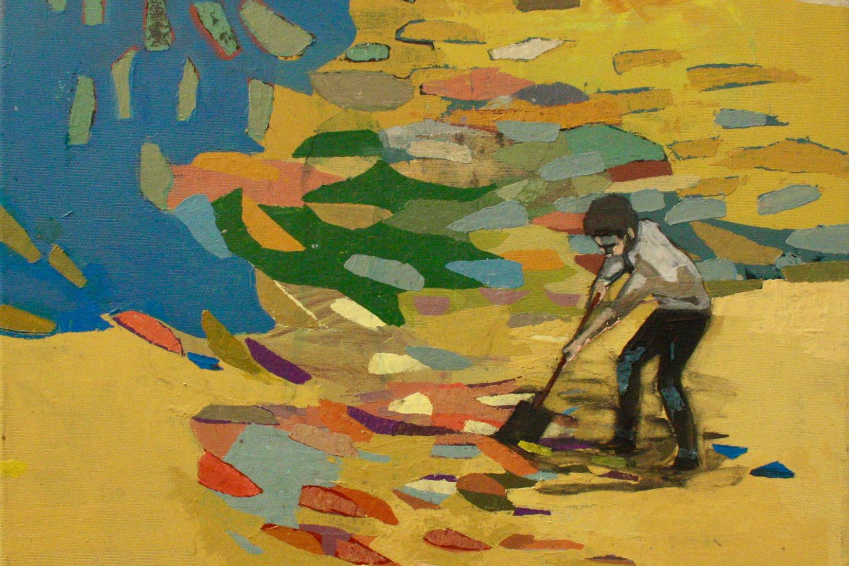 détial de la peinture d'Anna Lisa Unikuri : jaune majoritaire, un enfant semble balayé la toile