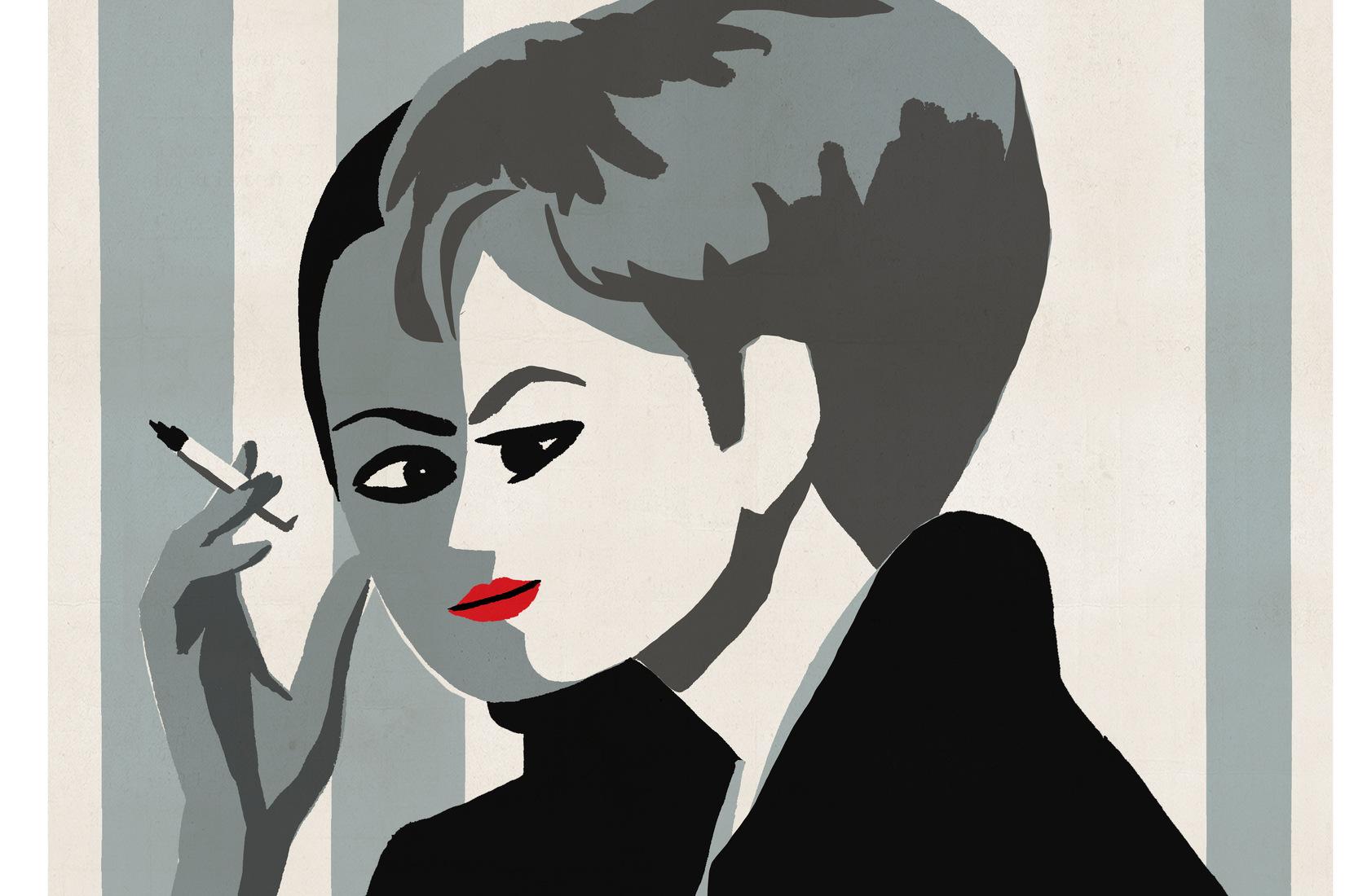 illustration en tons gris : 2 visages superpsosés de femmes en hommage à Persona