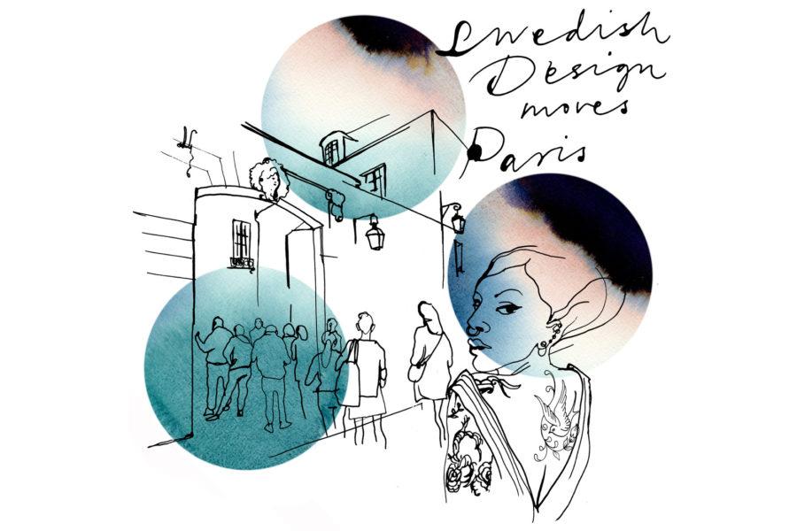 illustration : croquis de l'institut suédois et tâches d'aquarelle bleu et rose