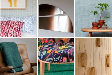 patwork de 6 images : détails de motifs, tapisseries, mobilier ou murs