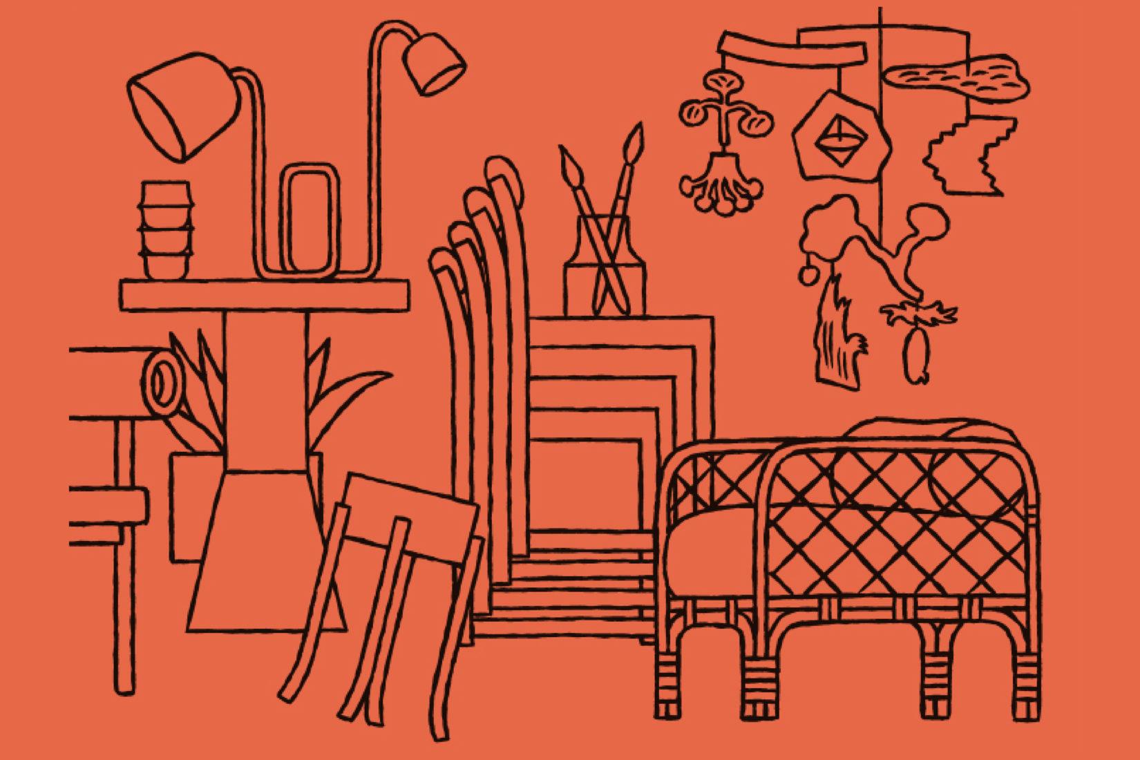 dessin noir sur fond orange, esprit minimlaliste, des objets et du mobiler