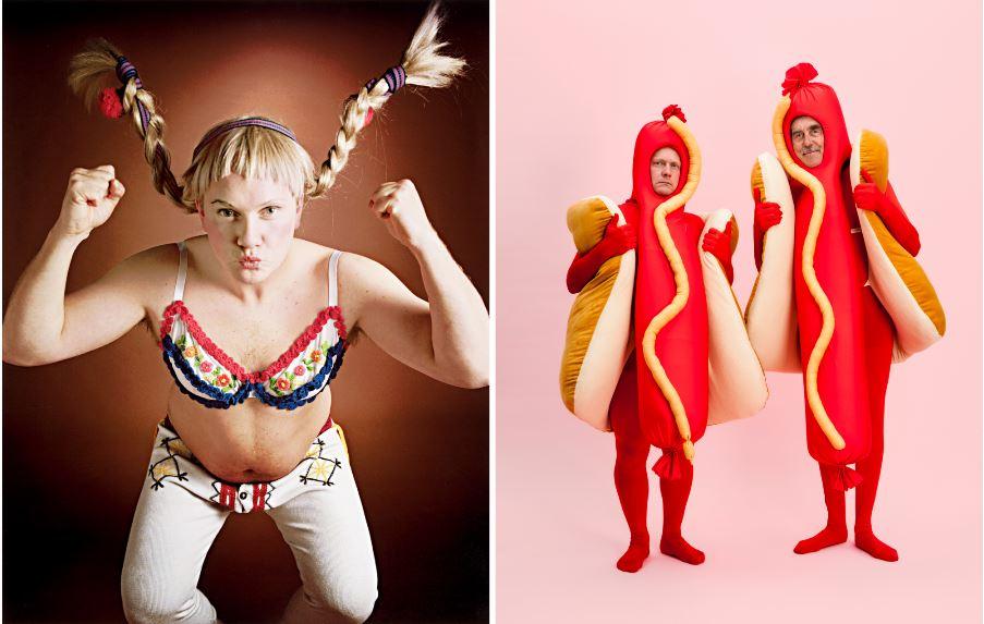 image de gauche : un homme déguisé en Fifi Brindacier, à droite deux hommes déguisés en hot dogs