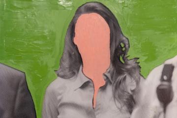 peitnure : fond vert et femme sans visage