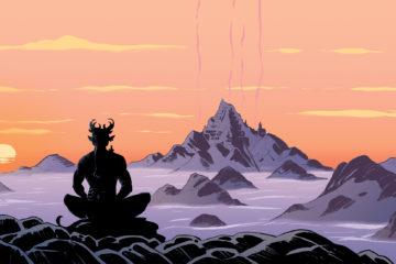 illustration : un diable de dos assis en tailleur face à une montagne