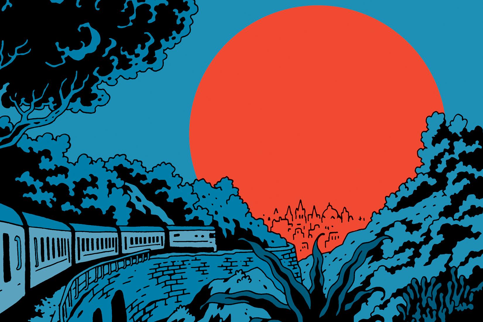 illustration graphique : un paysage bleue t noir avec un trian qui passe à travers la forêt et un soleil orange qui semble se coucher.