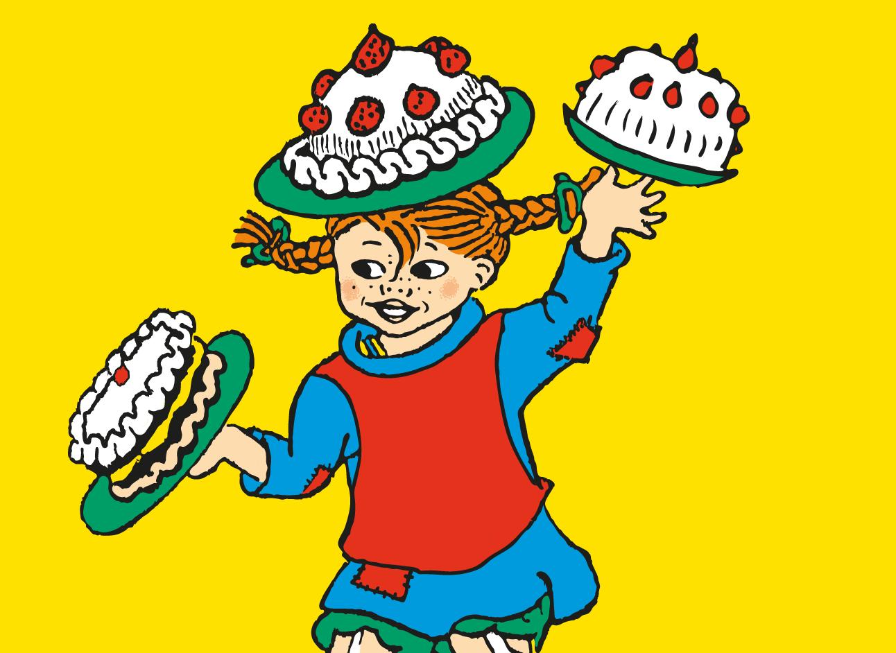 Visuel de Fifi Brindacier tenant deux gâteaux et en balançant un sur la tête.