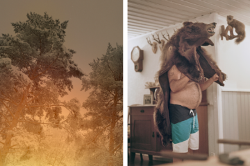 Two photos by Maja Daniels. On the left side, a three on fire and on the right side a man with a bear fur on his head.