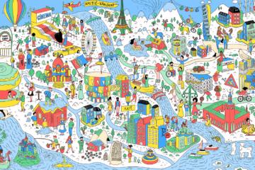 Un dessin avec des détails architecturaux et culturels de la France et de la Suède