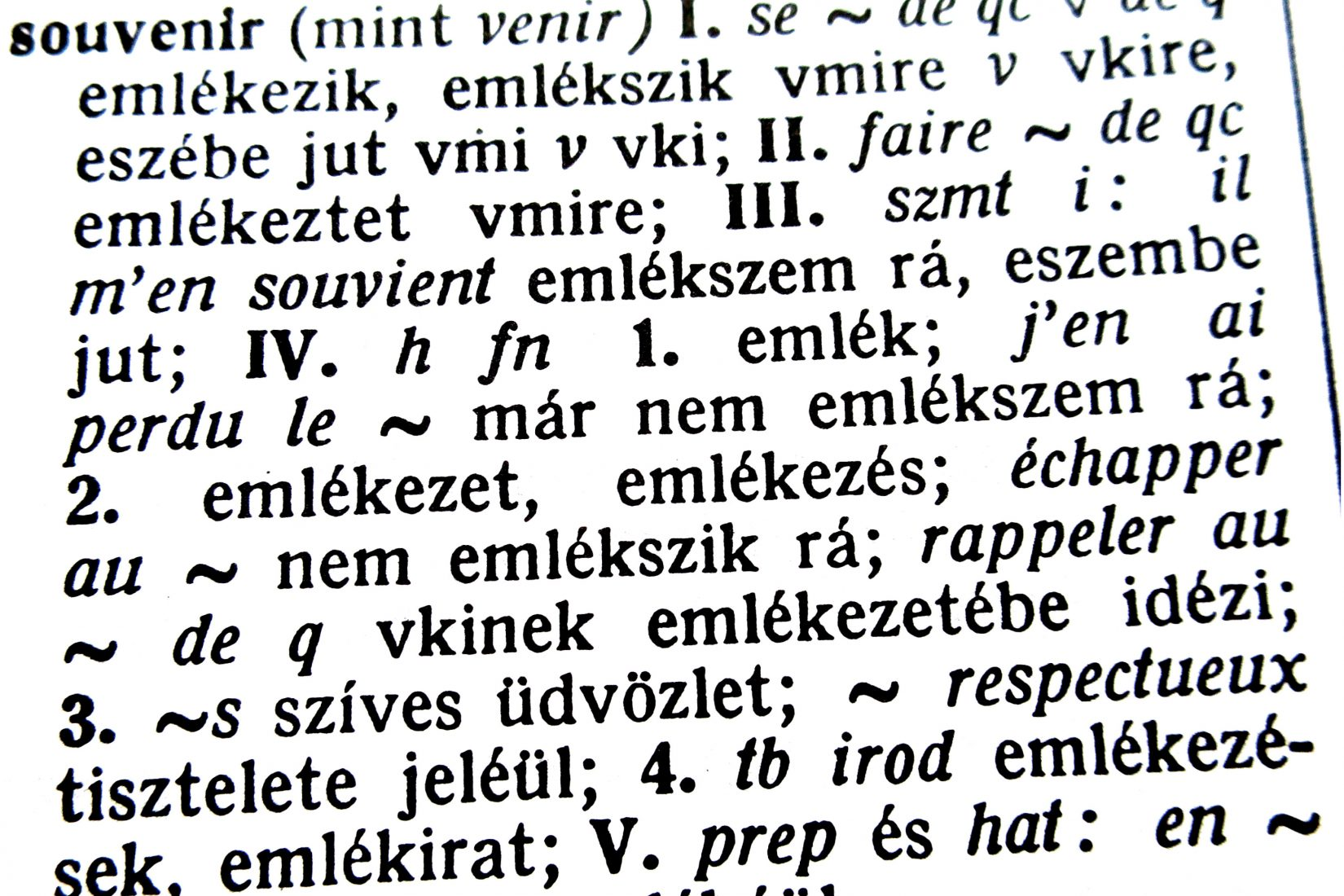 French Hungarian ictionary open on the word souvenir/Memory