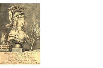 Gravure sur cuivre de Jeremias Falck : La Reine Christine en Minerve
