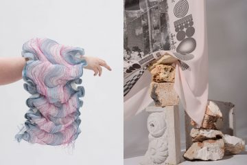 Left: extended arm carrying a long textile with pink and blue colours; right: textile with abstract shapes falling on a pile of stones and sculptures