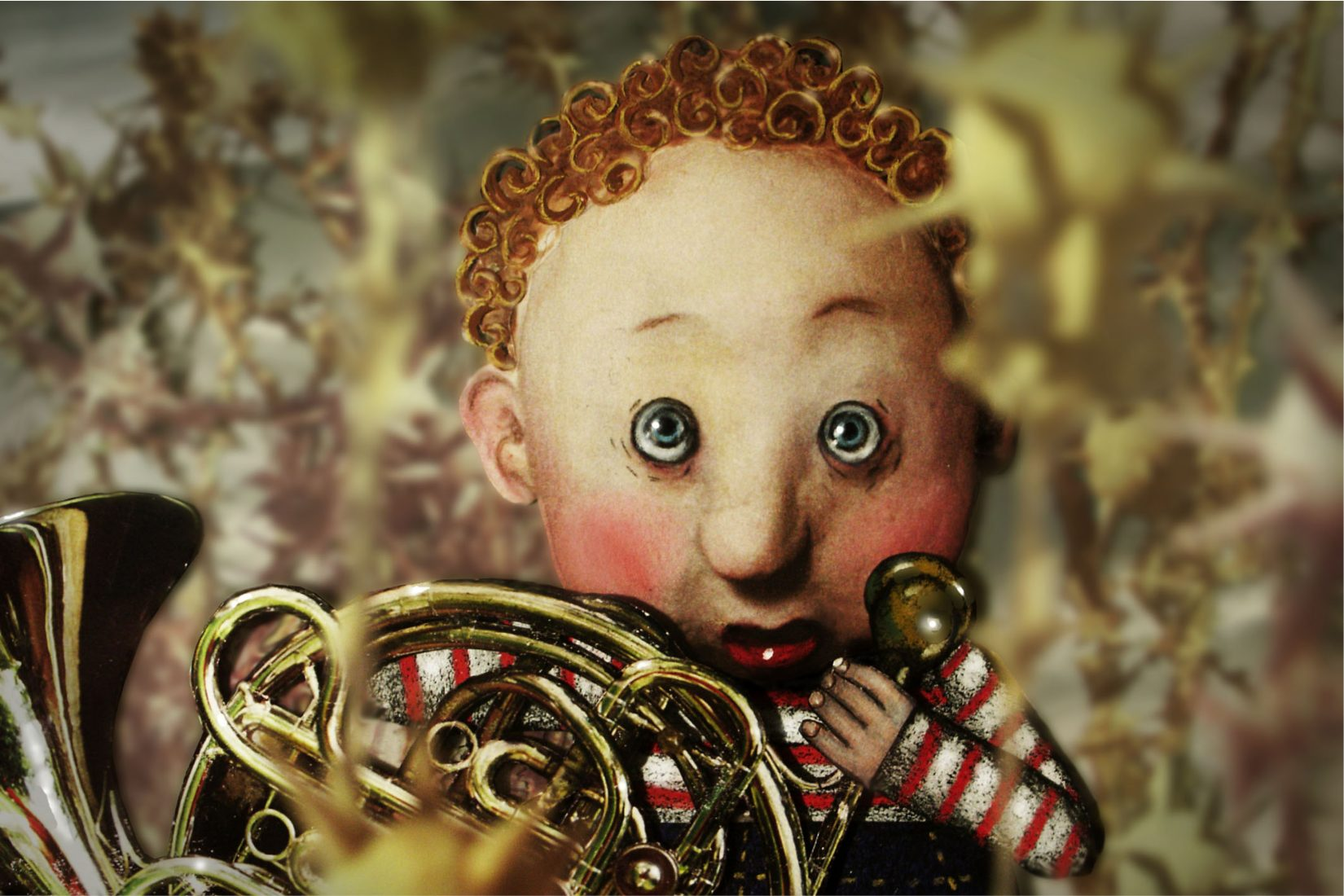 Image in 3D of a young boy looking scared and shy and holding a French horn.